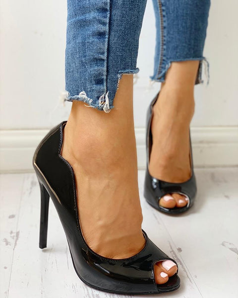 Solid Peep Toe Thin Heels