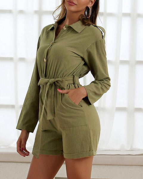 Turn-down Collar Buttoned Cargo Romper