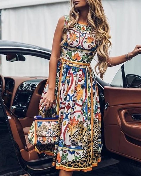 Floral Cheetah Print Sleeveless Ruched Casual Dress