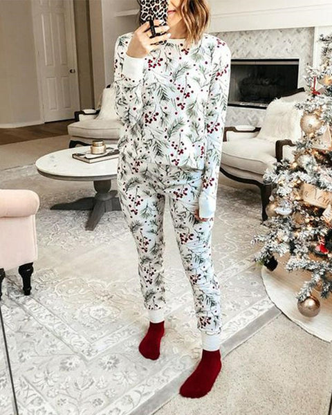 Christmas Mistletoe Printing Long Sleeve T-shirt With Pants Suit Sets