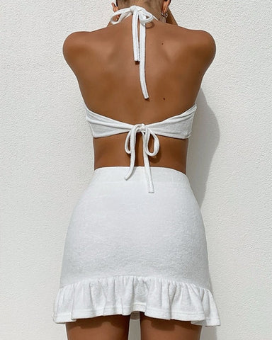 Solid Halter Tanks With Mini Skirts Skirt Sets
