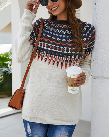 Pullover Folk Style Long Sleeve Knit Sweater