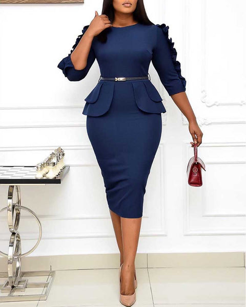 Plain Three Quarter Length Work Dress With Belt