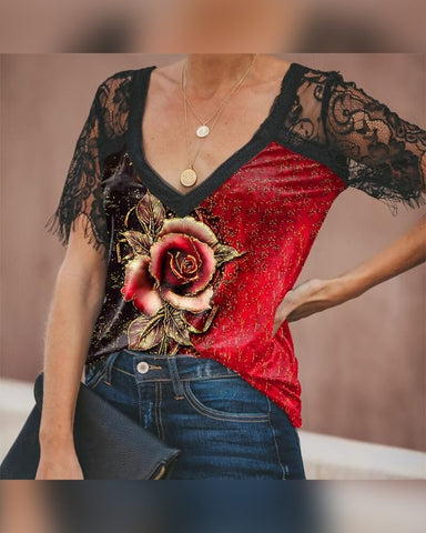 Rose Print Lace Short Sleeve T-shirt