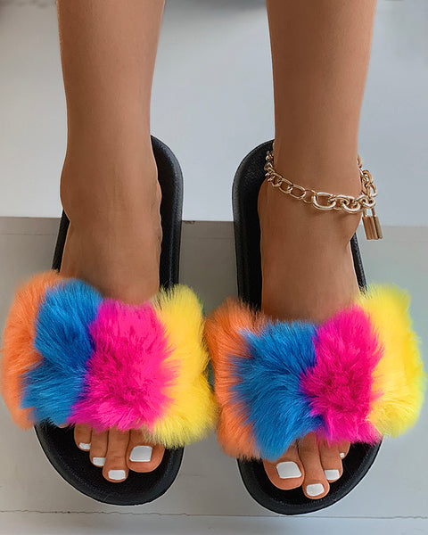 Colorblock Open Toe Fluffy Slippers