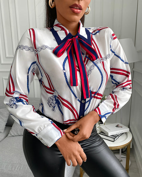 Scarf Print Tie Neck Long Sleeve Shirt