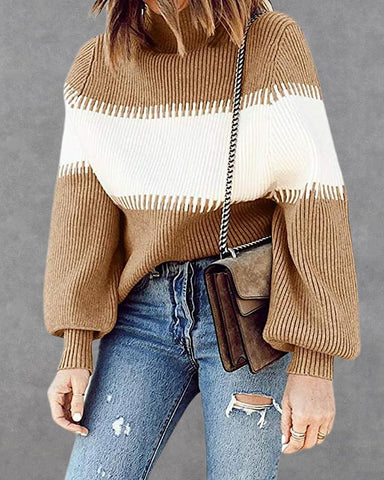 Colorblock Ribbed High Neck Sweater