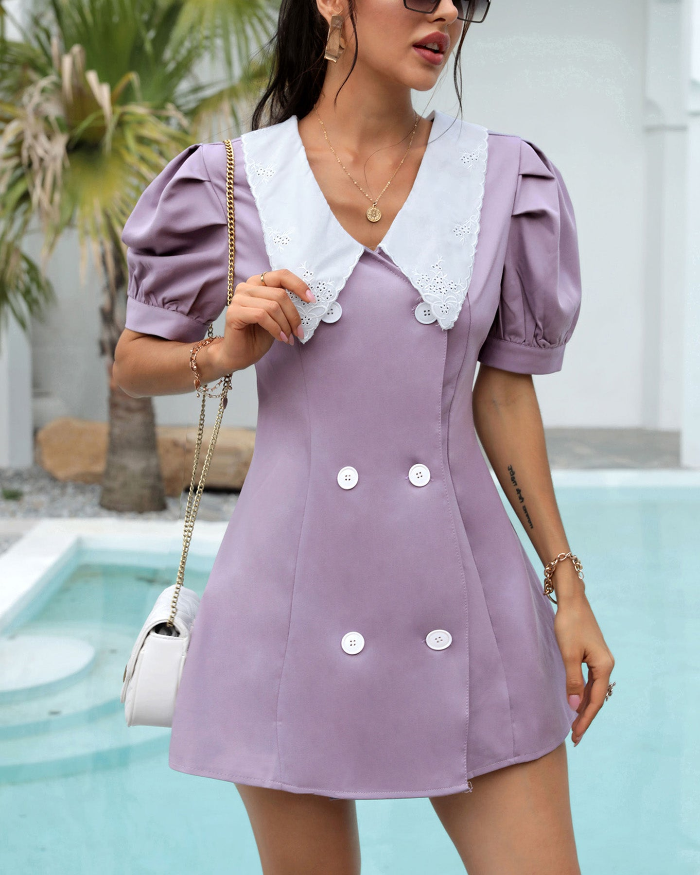 Button Design Puffed Sleeve Dress