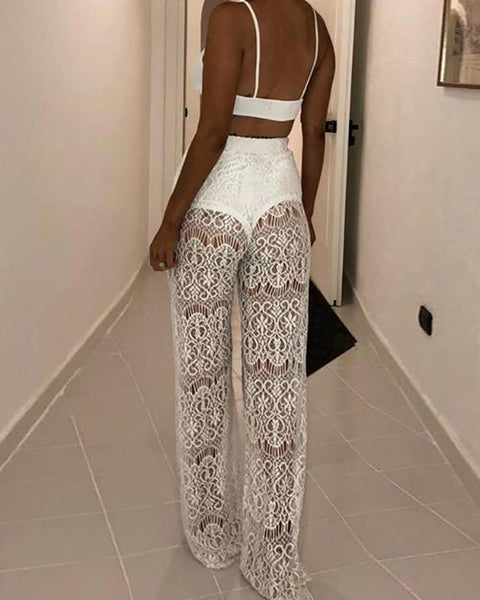 High Waist Lace Hollow Out Pant