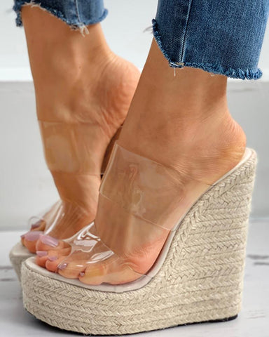 Woven Flax Clear Perspex Wedge Sandals