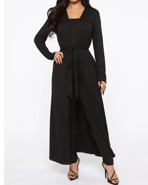 Solid Off Shoulder Jumpuit & Coat Set
