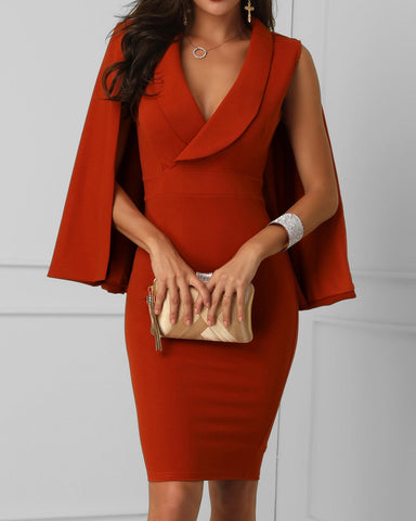 Surplice Front Cape Design Bodycon Dress