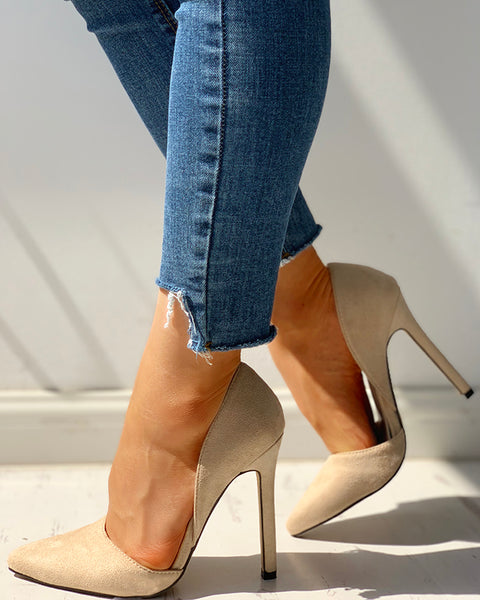 Suede Pointed Toe Thin Heels