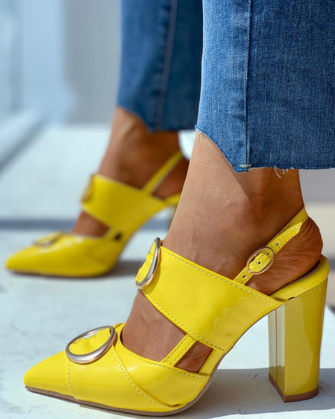 O Ring Ankle Buckled Chunky Heeled Sandals