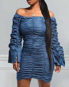 Ruched Off Shoulder Denim Dress