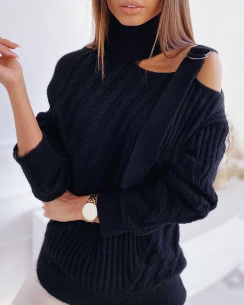High Neck Cold Shoulder Hollow Out Sweater