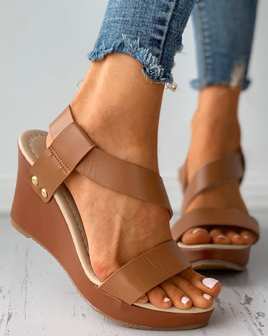 Peep Toe Slingback Wedge Sandals