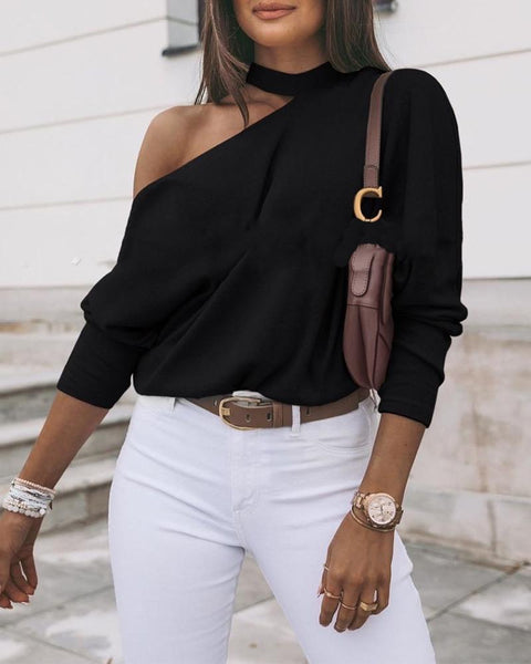 Solid Long Sleeve Loose One Shoulder Cut-out T-shirts