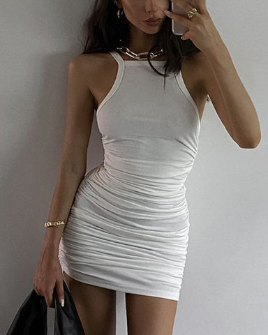 Solid Color Ribbed Sleeveless Ruched Skinny Mini Dress