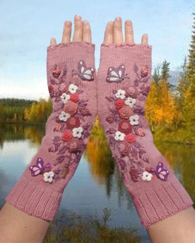 Splicing Floral Butterflies Embroidery Thermal Open-fingers Gloves