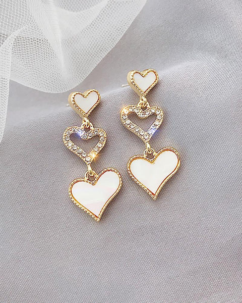 Heart Pattern Studded Cutout Drop Earrings