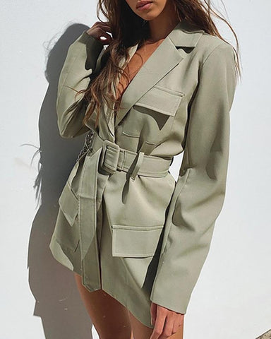 Plain Pocket Design Long Sleeve Blazer Coat