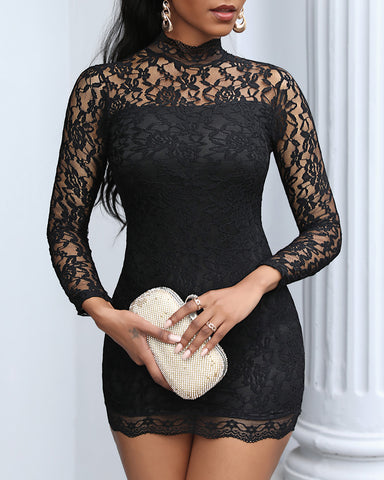 Cutout Backless Floral Lace Bodycon Dress