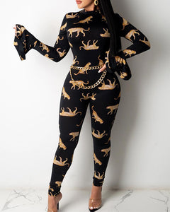 Leopard Printing Hollow Long Sleeve Jumpsuit