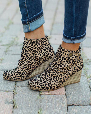 Leopard Pattern Round-toe Wedge Shoes