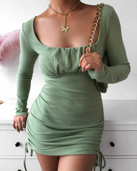 Drawstring Ruched Bodycon Dress