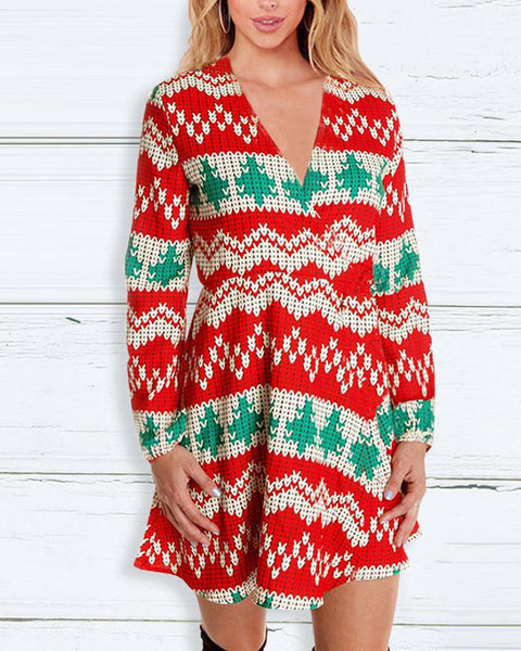 Christmas Plaid Long Sleeve Knit A-line Mini Dress