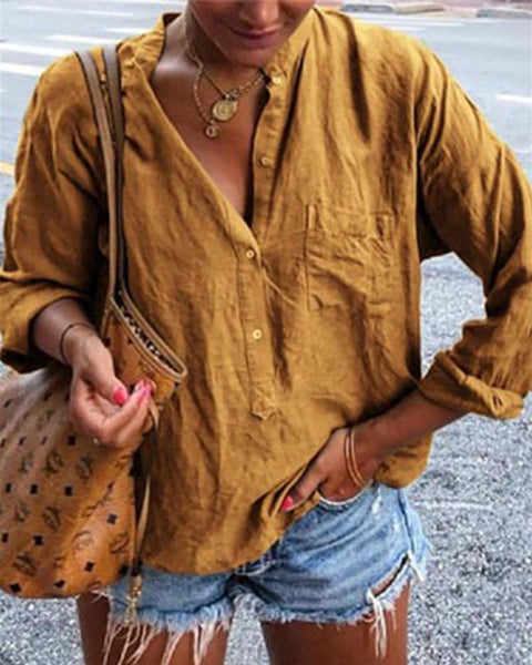 Long Sleeve Half Button Shirt