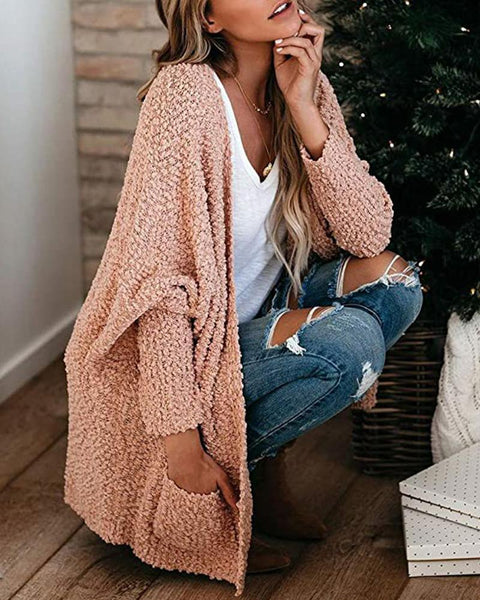 Cozy Solid Double Pocket Knit Cardigan