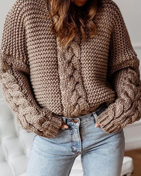 Solid Braided Knitted Casual Loose Sweater