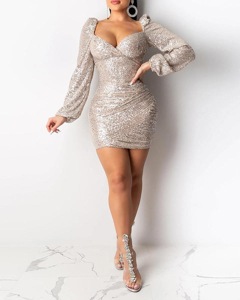 Square Neck Sequined Bodycon Dress