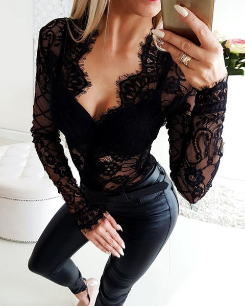 Sheer Eyelash Lace Long Sleeve Bodysuit