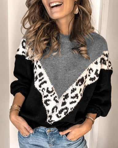 Round Neck Leopard Colorblock Insert Casual Sweater