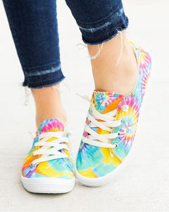 Tie Dye Lace-up Flat Sneakers