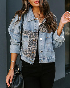 Cheetah Print Ripped Button Design Denim Coat
