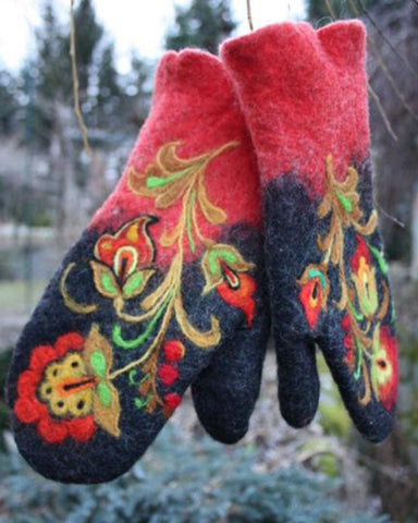 Vintage Floral Embroidery Gloves