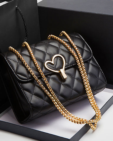 Heart Pattern Quilted Flap Crossbody Bag