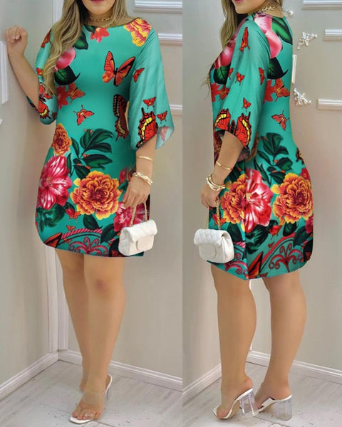 Butterfly Print Half Sleeve Casual Dress