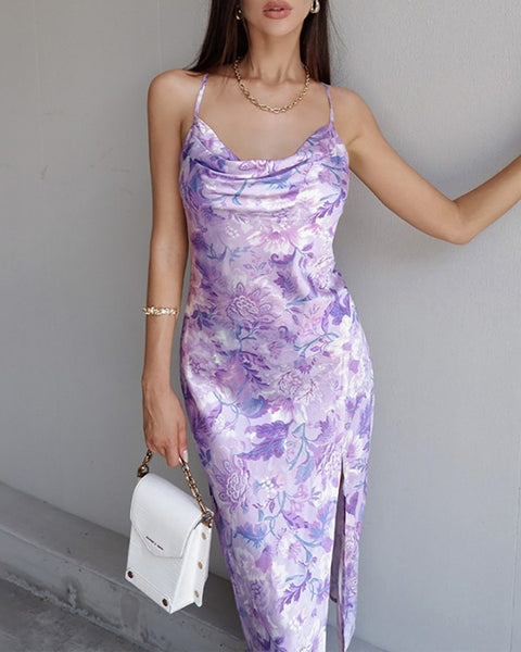 Floral Print Spaghetti Strap High Slit Maxi Dress