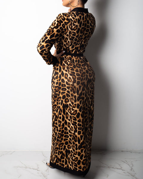 Bandeau Crop Top & Cheetah Print Longline Coat & High Waist Pants Set