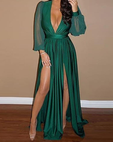 Plunge Lantern Sleeve Pleated Slit Evening Dress