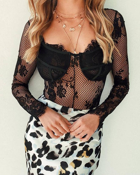 Sheer Hollow Out Crochet Lace Bodysuit