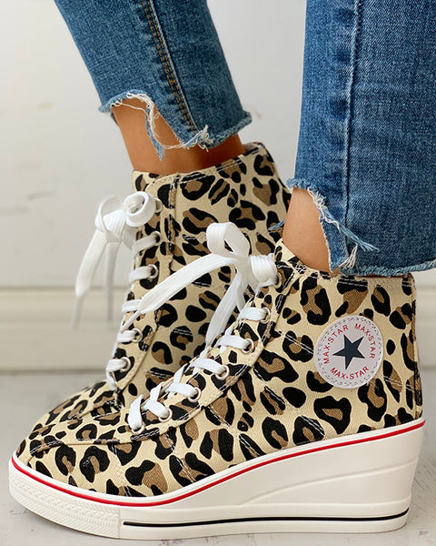 Leopard Lace-Up Wedges Shoes