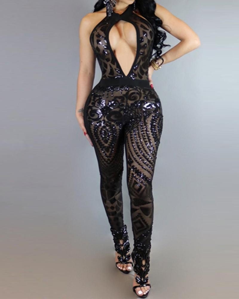 Sexy Halter Neck Cutout Jumpsuit