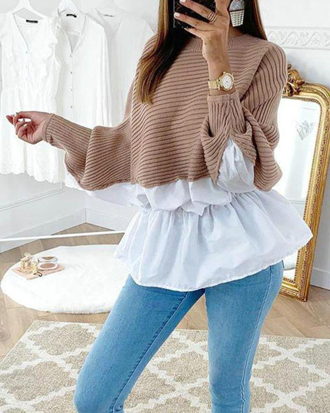 Cross Color Knitted Lounge Top