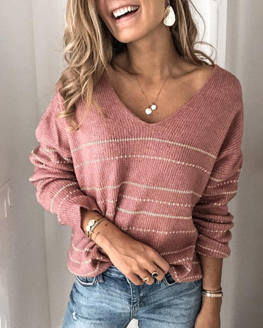 Striped Long Sleeve Casual Sweater